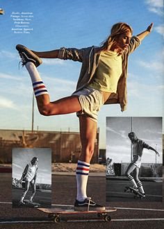 """Glamour's """"L.A. Skate of Mind"""" sory (May/June 2016) features the Stripe Knee High Sock and the Running Short"""