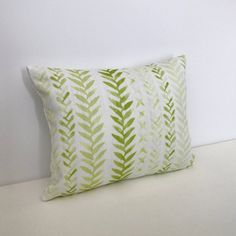 74743e4d7a9 Watercolor green and white leaf block print decorative throw pillow cover