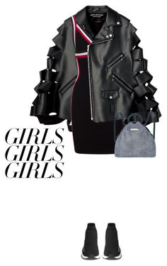 """""""girls girls girls"""" by rosa-loves-skittles ❤ liked on Polyvore featuring Balenciaga, Marc by Marc Jacobs, womensHistoryMonth, pressforprogress and GirlPride"""