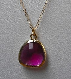 "hot pink / fuchsia glass drop necklace in 14 kt gold filled! only $35 on etsy! use coupon code ""FALL2011P"" at checkout for 11% off your entire s dot jewelry purchase!!!"