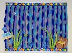 Ocean Fish Water Treasure Bulletin Board.  Love the crete paper waves.