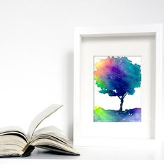 """Original ACEO Hue Tree Art - Modern Contemporary Rainbow Black Forest Landscape Watercolour Painting. $15.00 USD  9.81 GBP.  """"Hue Tree III"""" is part of a series of original watercolour paintings by Professional Artist Brazen Edwards-Hager."""