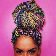 I can't explain it but I LOVE these box braids! Box Braids Hairstyles That Turn Heads multicolor candy hair Box Braid Hair, Big Box Braids, Blonde Box Braids, Box Braids Styling, 2015 Hairstyles, Box Braids Hairstyles, Haircuts, Twists, Hair Colorful