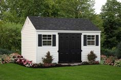 With its clean lines and uncomplicated style, the classic A-Frame shed is perfect for nearly any property. Vinyl Storage Sheds, Vinyl Sheds, Outdoor Storage Sheds, Outdoor Sheds, Shed Storage, Built In Storage, Wood Door Paint, Octagon Window, Shed Landscaping
