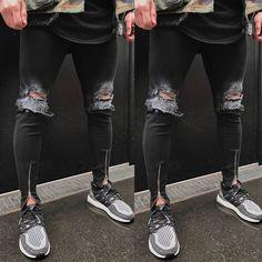 ITFABS Newest Arrivals Fashion Hot 2017 Men's Ripped Skinny Biker Jeans Destroyed Frayed Slim Fit Denim Biker Cool Pants