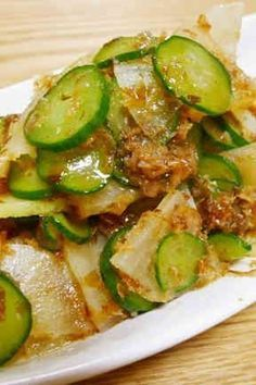 Kids Love This! Simmered Cucumber & Daikon Radish Recipe - Yummy this dish is very delicous. Let's make Kids Love This! Simmered Cucumber & Daikon Radish in your home! Asian Cooking, Healthy Cooking, Cooking Recipes, Healthy Recipes, Japanese Side Dish, Japanese Dishes, Japanese Food, Radish Recipes, Asian Recipes