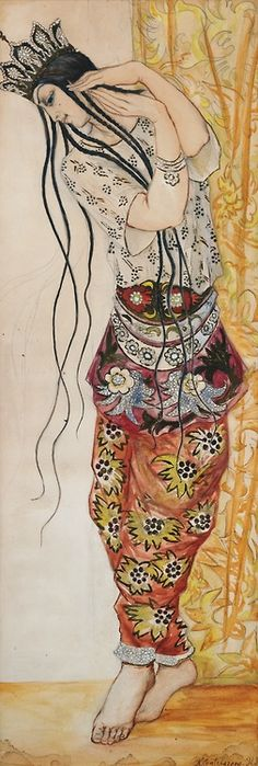 Natalia Goncharova (Russian, 1881-1962) -Queen Of Shamakhan from Le Coq d'Or from the Ballet Russes (1913).