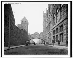 """Circa """"Bridge of Sighs, Pittsburgh."""" Named after the famous span in Venice, it was used to transport prisoners between the Allegheny County Courthouse and the jail. inch glass negative, Detroit Publishing Company Not in Venice but interesting! Rare Photos, Vintage Photographs, Old Photos, Vintage Photos, Shorpy Historical Photos, Historical Fiction, Pennsylvania History, Unique Architecture, Historical Architecture"""
