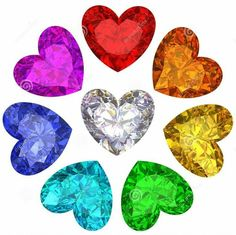 A rainbow of crystal hearts Neon Colors, Rainbow Colors, All The Colors, I Love Heart, Valentines Day Hearts, World Of Color, Happy Colors, Over The Rainbow, Color Splash