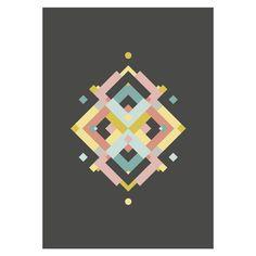 Grafische woonposter (€12)   poster  #poster #prent #afbeelding #grafisch #geometrisch #caleidoscoop #kleuren #pastel #zwart #roze #mint #oker #zalm #koraal #wonen #interieur #muur #lijst #kunst #artwork #ontwerp #webshop