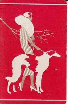 A Single Vintage Linen SWAP PLAYING CARD ART DECO LADY WALKING BORZOI DOG
