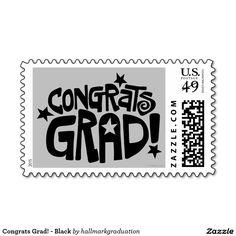 Congrats Grad! - Black Postage Stamps.  Artwork designed by hallmarkgraduation.