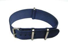 22mm NATO G10 Blue Nylon Military Watch Band Strap