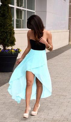 Cuuuuute! Tiffany blue hi low dress and nude heels