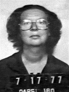 Sara Jane Moore mugshot from '75: tried to assassinate Ford, not unlike Squeaky Fromme, the Manson family member who tried it two weeks earlier. Moore fired two shots and Fromme fired none.