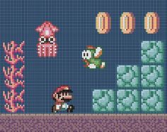Nintendo Cross Stitch Patterns | recommend using a navy or blue fabric rather than stitching all of the ...