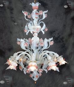 venice italy murano glass chandilers | Murano Glass Tagliato Opaline Flower Chandelier - mouth blown Italian ...