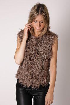 august st faux fur vest
