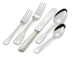 Monogrammed Hotel Silver Flatware Place Setting || Williams-Sonoma || 20pc service for 4, $420.00 || monograms addt'l charge.