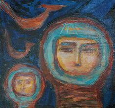 Outsider Art Brut Painting Primitive Astronauts GROENING etsy seller stircrazyfolkart