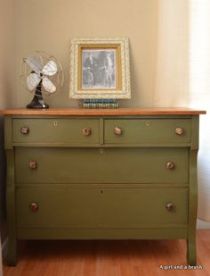 Chalk Paint Ideas | Antique Dresser in Olive by Annie Sloan Chalk Paint by AGBStudio