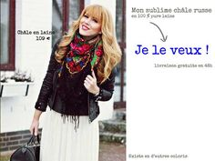foulard russe fleurs noires
