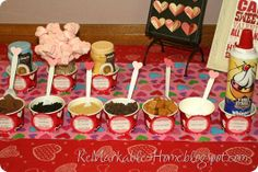 Hot chocolate bar--my kids would love this.  So cute and yummy.