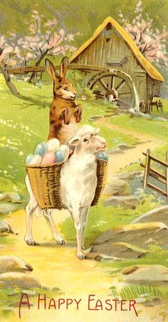vintage Easter postage card with rabbit and lamb