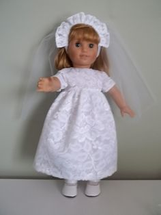 Chantilly lace Special Occasion dress veil tights and shoes fit by American Girl by SewQT, $35.00