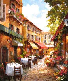 """Cafe du Jour"" 24 x 20 oil on canvas by Paul Guy Gantner"
