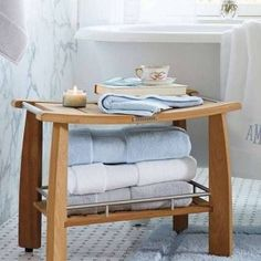 Teak Shower Bench With Towel Storage , Elegant Teak Shower Bench In Bathroom Category