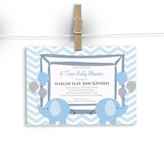 Custom Twin Baby Shower Invite.  Boys, Girls or Both. Custom wording, colors,images... by FoxyDesignCompany on Etsy