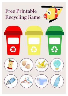 In Australia we have three different bins designated for different types of rub Rainbow Crafts Preschool, Free Preschool, Recycling Games, Green Bin, Earth Craft, Montessori Activities, School Readiness, Soft Plastic, Environmental Science