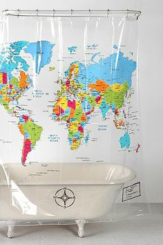 World Map Shower Curtain by Urban Outfitters. this could be used for so many things! if dry-erase markers work on it, frame it for an awesome map on the wall to draw on.