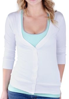 Amazon.com: Juniors T-Shirt Fabric Cardigan 3/4 Sleeve 6 Button Many Colors: Clothing