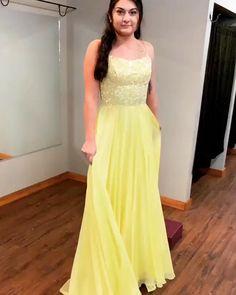 Strappy yellow chiffon long prom dress prom dresses 2019 in 2019 платья, кр Grad Dresses Short, Open Back Prom Dresses, Formal Dresses For Teens, Elegant Dresses, Homecoming Dresses, Strapless Dress Formal, Beautiful Dresses, Beaded Prom Dress, Beaded Chiffon