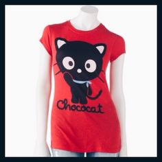 Chococat Tee Shirt | Hello Kitty | Sanrio Fitted tee with Chococat print. Preloved! Contains a slightly noticeable paint stroke but not bad at all. Beautiful kitty tee overall  Sanrio Tops Tees - Short Sleeve