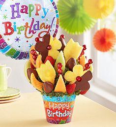 Birthday Bonanza™ Birthday Desserts, Birthday Cake, Fruit Arrangements, Birthday Balloons, Swirls, Big Day, How To Memorize Things, Bouquet, Happy Birthday