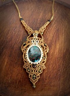 Macrame necklace with deep Chrysocolla from by EarthBoundMacrame