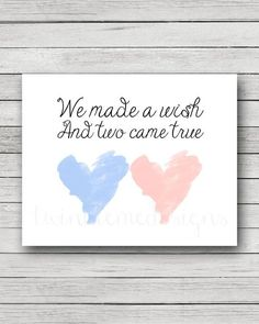 We Made A Wish and Two Came True, Twin Quote, Twin Nursery Decor, Boy Girl Twins, Twin Boys, Twin Girls, Twin Baby Gift [DIGITAL]