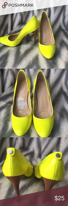Calvin Klein neon yellow heels 4 inches tall. I purchased them from another posher and I love them so much but they are a little small on me. I am between a 5.5 and a 6. I would only suggest buying them if you are a true 5.5! Sad to see them go but I won't be able to wear them 😭 she stated that she only wore them once or twice. The bottom of the shoes look almost brand new. There are a few very minor defects but you only see them if you look very closely! Calvin Klein Shoes Heels