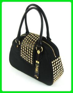 Christian Audigier Womens Gwen Studded Bowler Hanbag Black Purse - Top  handle bags ( Amazon Partner-Link) 4362b4258cec4
