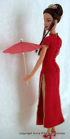 Beautiful oriental dress for barbie with by Barbiecrochet on Etsy