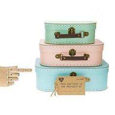 Set of 3 Pastel Coloured Blue Green Pink Retro Suitcases Storage Boxes: Amazon.co.uk: Kitchen & Home