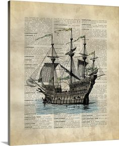 Vintage Dictionary Art: Ship via at GreatBIGCanvas.com.