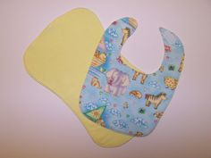 Bib burp cloth set baby animals sailboats reversible blue yellow cotton flannel by EverSewSweet on Etsy