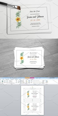 Floral Save The Date Template. Wedding Card Templates