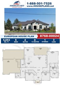 If you love the exclusive European design, you'll love Plan 8768-00024 featuring 5,053 sq. ft., 5 bedrooms, a mud room, an office concept, and a kitchen island. Learn all about this house plan on our website. European Plan, European House Plans, Best House Plans, Floor Plan Drawing, Jack And Jill Bathroom, Cost To Build, Construction Cost, Build Your Dream Home, Old World Charm