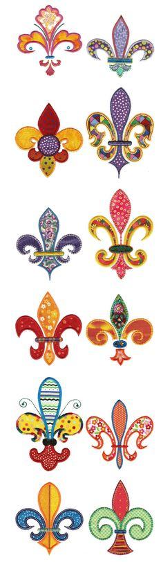 Multiple Fleur de lis applique designs, only 2 sizes in each though
