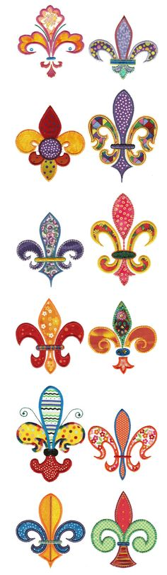 Multiple Fleur de lis applique designs, only 2 sizes in each though